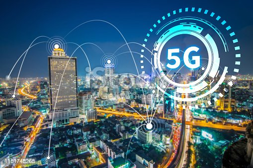 istock 5G network digital and internet of things on city background.5G network wireless system Concept. 1181748268
