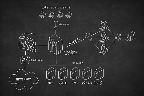 network drawn on blackboard - diagram stock photos and pictures