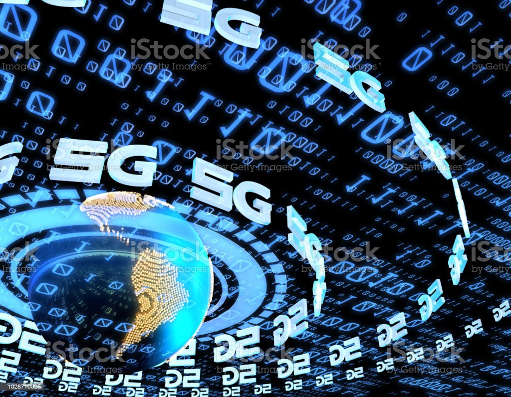 5G network electronic technology, global network communication and information transmission stock photo