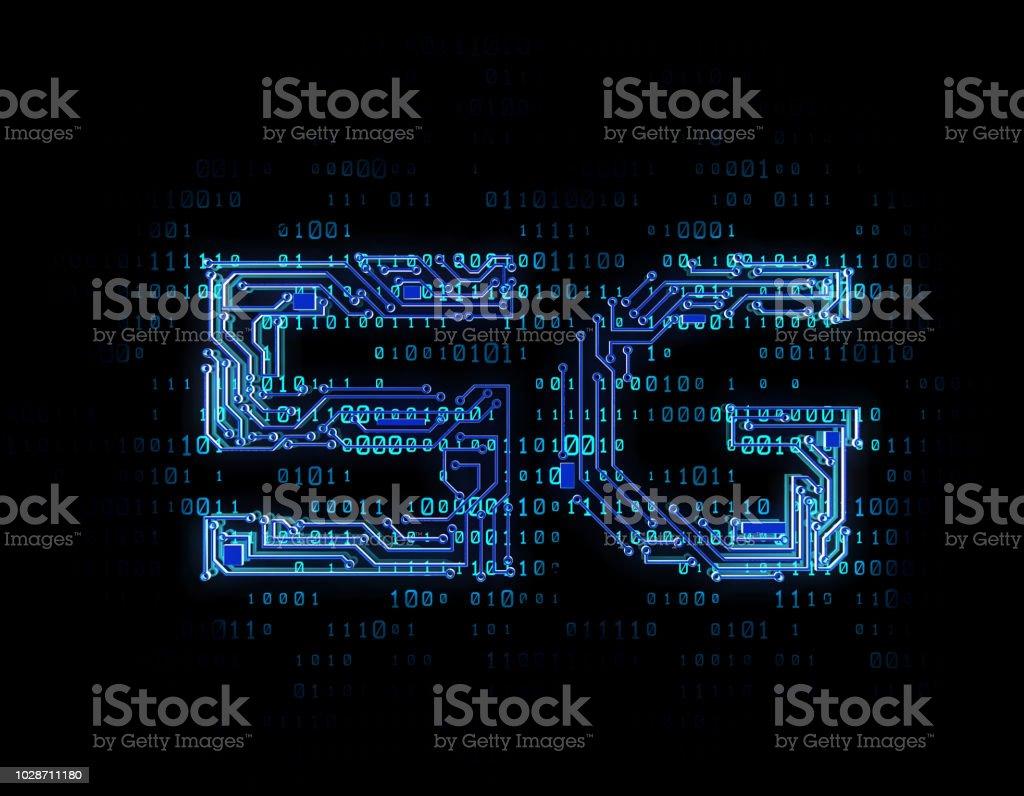 5 G de réseau technologie électronique, transmission d'information et de communication réseau, base de circuit imprimé - Photo