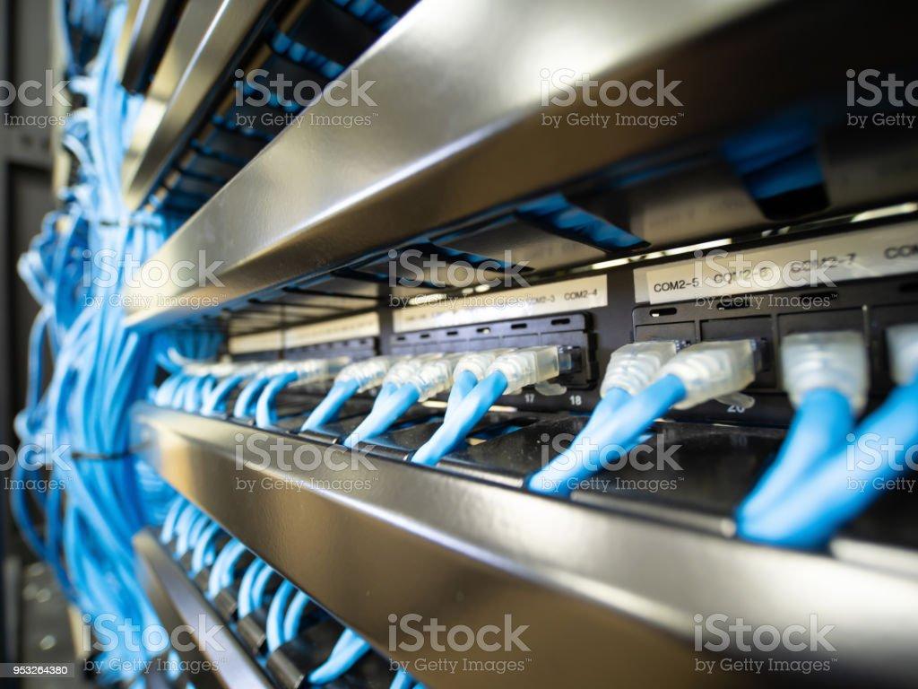 Réseau Ethernet Câbles Et Chemin Daccès Le Panneau En Armoire Rack