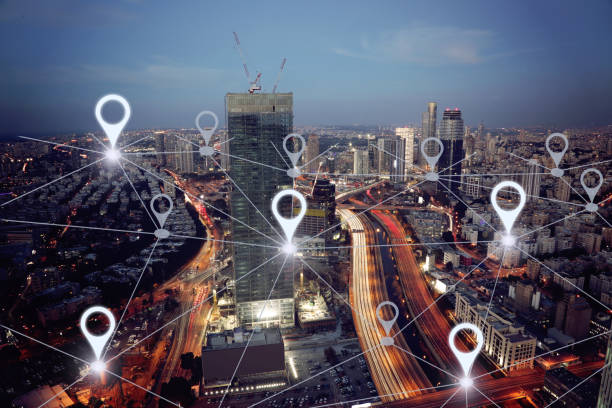 Network gps navigation modern city future technology Network gps navigation modern city future technology global positioning system stock pictures, royalty-free photos & images