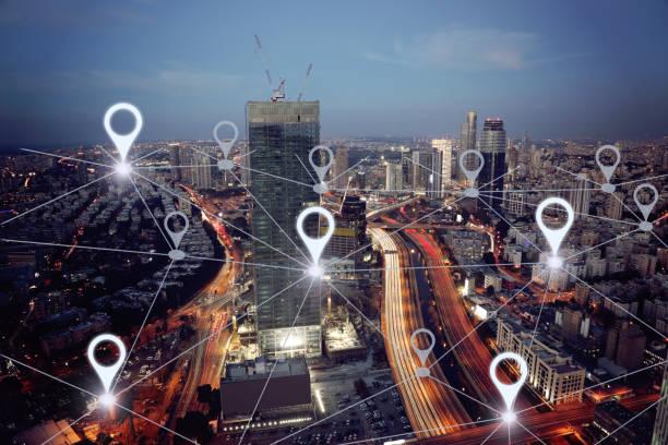 Netzwerk gps Navigation moderne Stadt Zukunftstechnologie – Foto