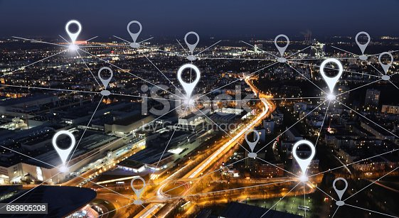 istock Network gps navigation modern city future technology 689905208