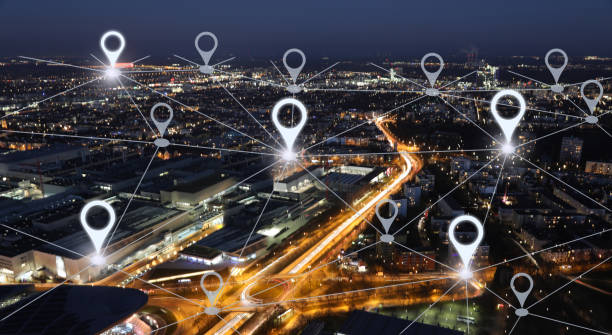 Network gps navigation modern city future technology stock photo