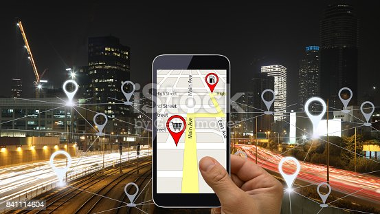 843961934 istock photo Network gps navigation modern city future technology 841114604
