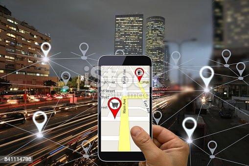 843961934 istock photo Network gps navigation modern city future technology 841114798