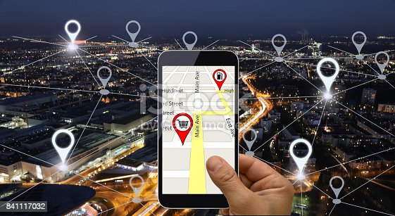 843961934 istock photo Network gps navigation modern city future technology 841117032