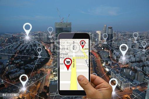 843961934 istock photo Network gps navigation modern city future technology 841117362