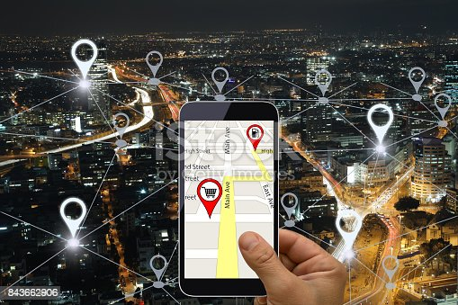 922762614 istock photo Network gps navigation modern city future technology 843662906