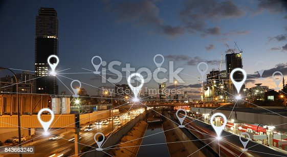 922762614 istock photo Network gps navigation modern city future technology 843663240