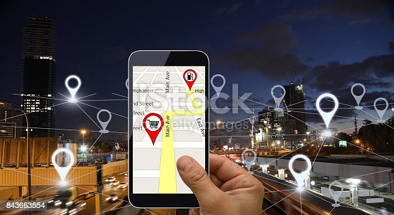 922762614 istock photo Network gps navigation modern city future technology 843663554