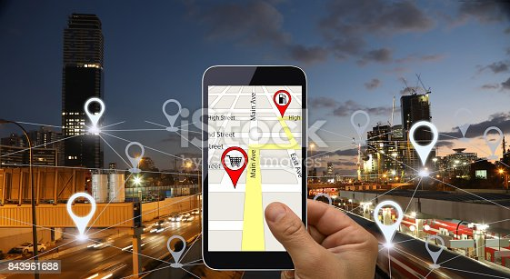 922762614 istock photo Network gps navigation modern city future technology 843961688