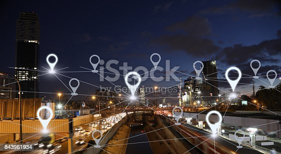 922762614 istock photo Network gps navigation modern city future technology 843961934