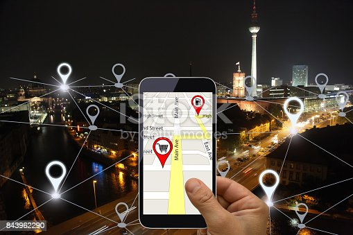 922762614 istock photo Network gps navigation modern city future technology 843962290