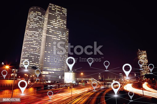 922762614 istock photo Network gps navigation modern city future technology 868045266