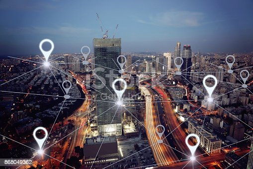 922762614 istock photo Network gps navigation modern city future technology 868049362