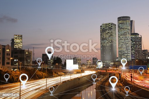 922762614 istock photo Network gps navigation modern city future technology 868915418