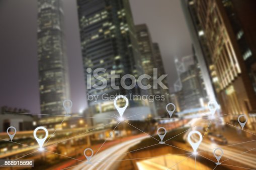 922762614 istock photo Network gps navigation modern city future technology 868915596