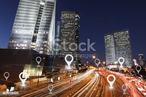 922762614 istock photo Network gps navigation modern city future technology 868916494