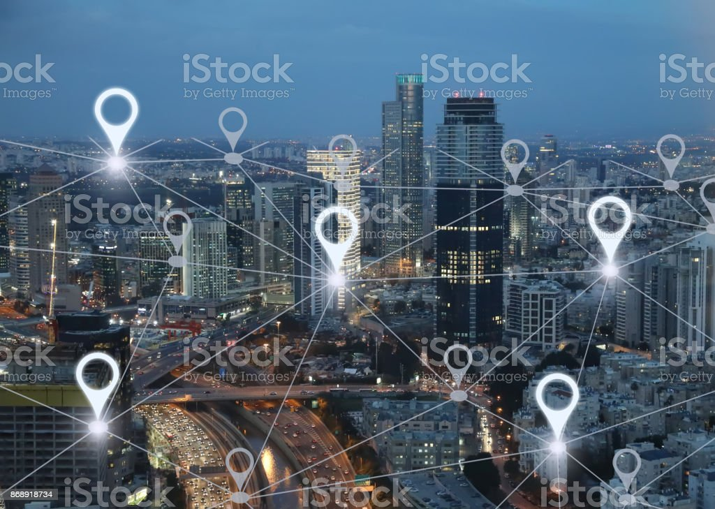 Network gps navigation modern city future technology royalty-free stock photo
