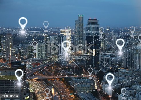 922762614 istock photo Network gps navigation modern city future technology 868918734