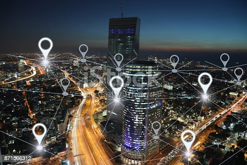 istock Network gps navigation modern city future technology 871566312