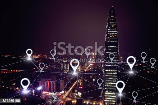 istock Network gps navigation modern city future technology 871569196