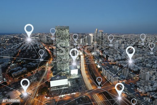 istock Network gps navigation modern city future technology 871569896