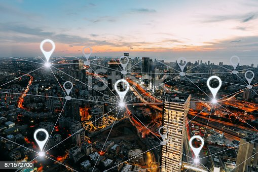 istock Network gps navigation modern city future technology 871572700