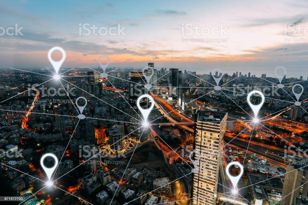 Network gps navigation modern city future technology stock photo