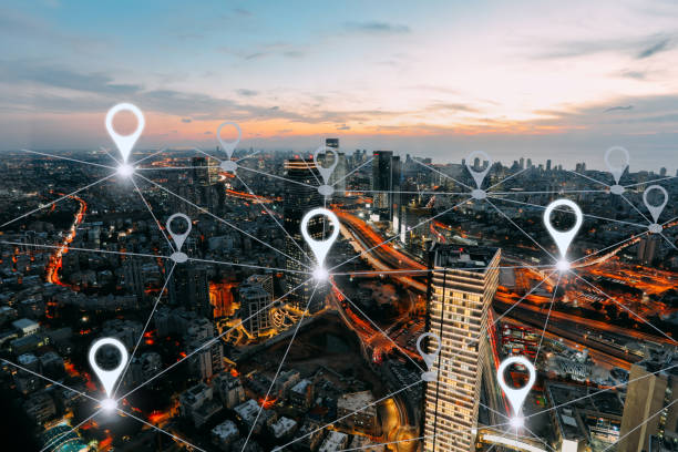 network gps navigation modern city future technology - landmarks stock photos and pictures