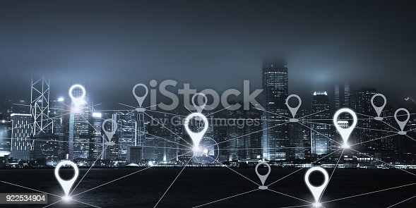 922762614 istock photo Network gps navigation modern city future technology 922534904