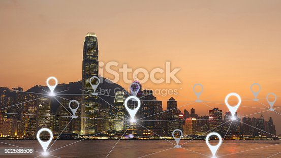 922762614 istock photo Network gps navigation modern city future technology 922538506