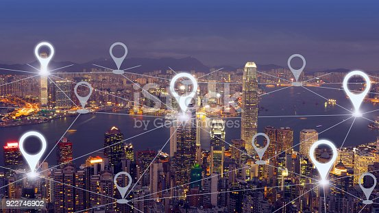 922762614 istock photo Network gps navigation modern city future technology 922746902