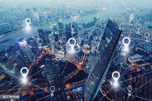 922762614 istock photo Network gps navigation modern city future technology 922761546