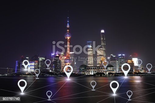 922762614 istock photo Network gps navigation modern city future technology 922761740
