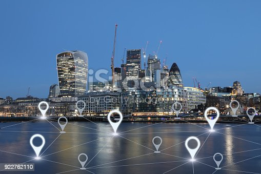 922762614 istock photo Network gps navigation modern city future technology 922762110