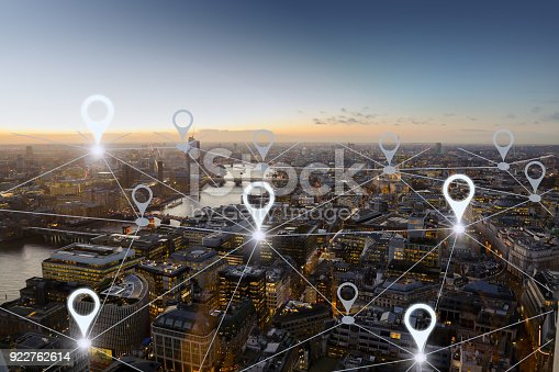 922762614 istock photo Network gps navigation modern city future technology 922762614