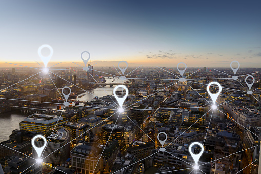 istock Network gps navigation modern city future technology 922762614