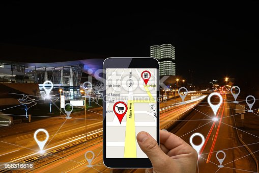 922762614 istock photo Network gps navigation modern city future technology 956316616