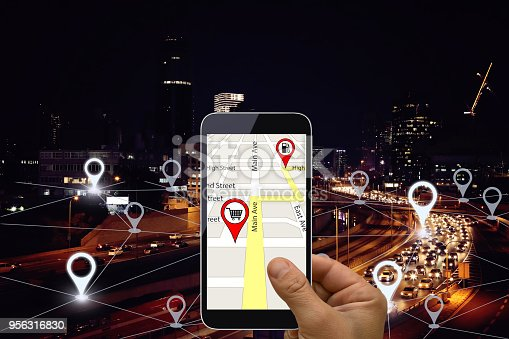922762614 istock photo Network gps navigation modern city future technology 956316830