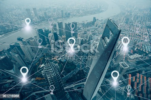 istock Network gps navigation modern city future technology 961216988