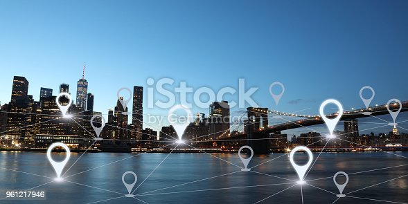 istock Network gps navigation modern city future technology 961217946