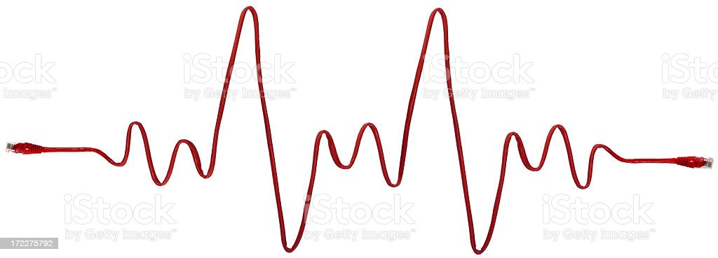 Network Heartbeat (XXXLarge) with clipping path Red Network cable arranged to show heartbeat, isolated on white, with clipping path. Bandwidth Stock Photo