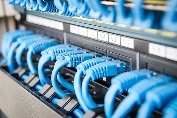 Network hub and cable stock photo