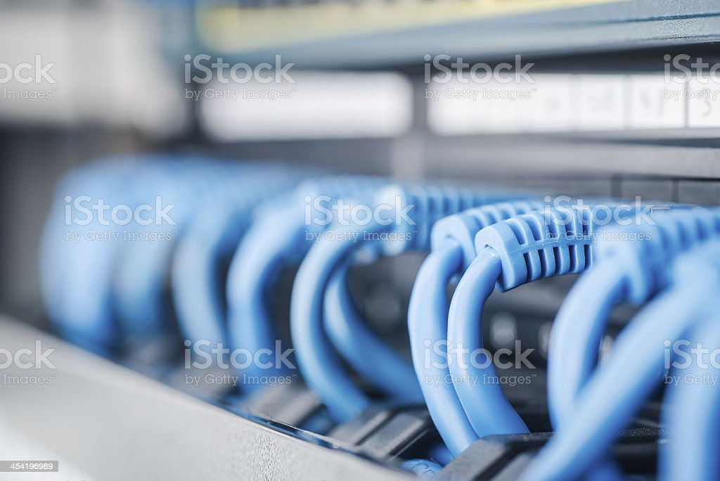 Network hub and cable - Royalty-free Blue Stock Photo
