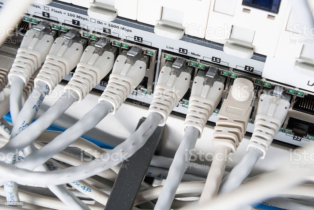 network hub and patch cables royalty-free stock photo