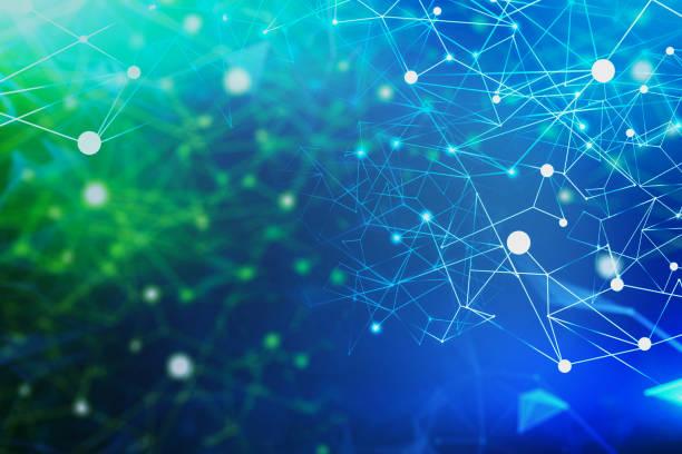 Netzwerkschnittstelle auf blau-grünem Hintergrund – Foto