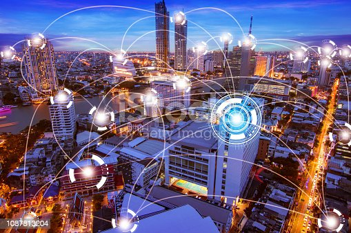 1155541483istockphoto Network internet and Connection technology concept with night city background 1087813204